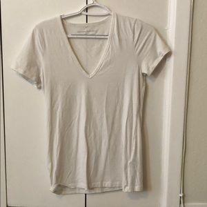 2 white t shirts, v neck
